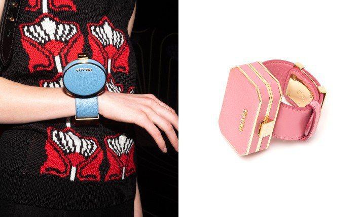今年秋冬PRADA掀起「迷你珠寶盒」風潮,用小巧的硬殼盒子搭配手環、腰帶變成百搭配件。圖/PRADA提供