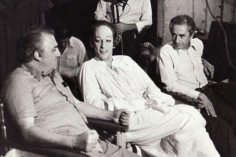 左起費里尼,卡薩諾瓦男主角唐納.蘇德蘭,安東尼奧尼。 圖/IMDb