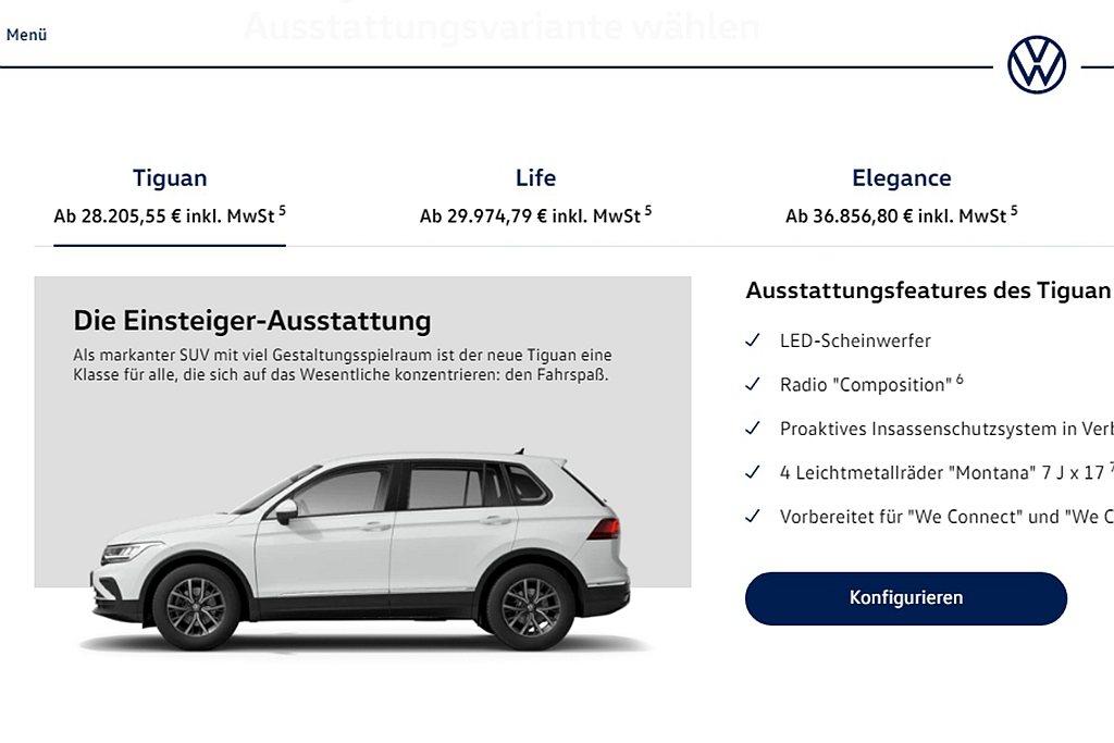 德國福斯Tiguan小改款前入門車型Comfortline當地售價自30,870...