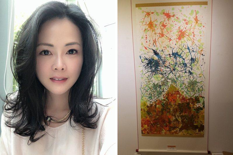 台灣當代抽象畫藝術家陳譓婷、藝名丞雨,巧妙融合國畫及西畫所學,透過水墨線條的靈性表達內心所感。圖/陳譓婷提供