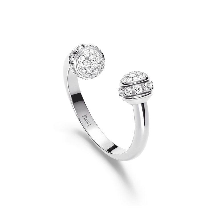 PIAGET,Possession系列18K白金鑽石戒指,58顆圓形明亮式切割鑽...