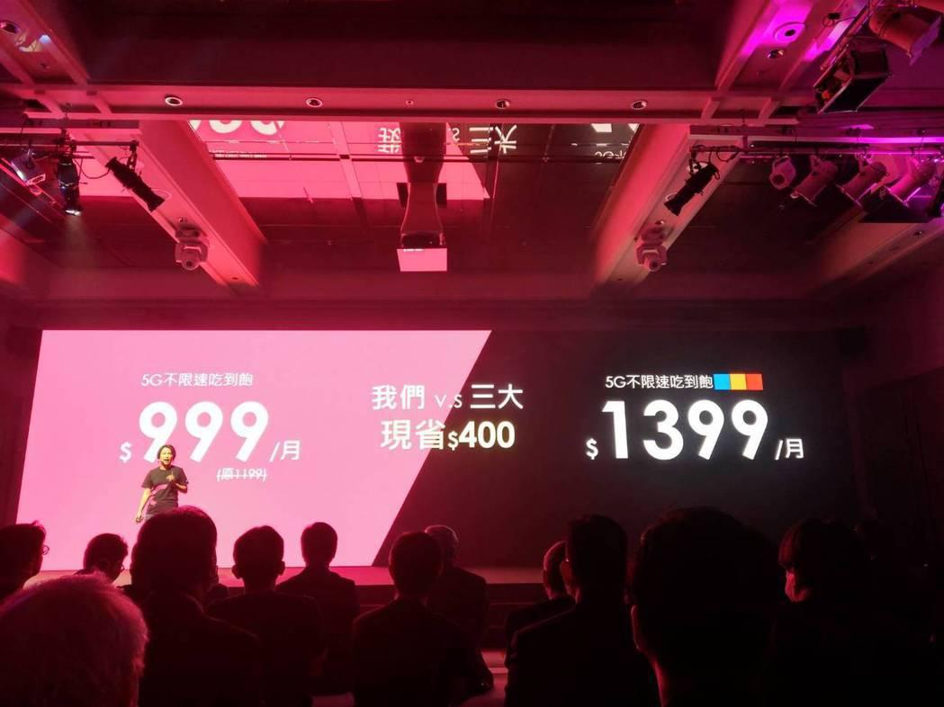 台灣之星宣布5G資費,月繳999元起,不限速上網吃到飽,比電信三雄月省400元。...
