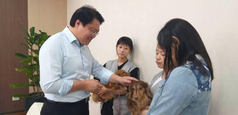 基隆市長林右昌(左一)今天與同仁領養的狗狗「桃子」出席宣導活動,邀請民眾帶愛犬參加「狗狗森友會」。記者邱瑞杰/攝影