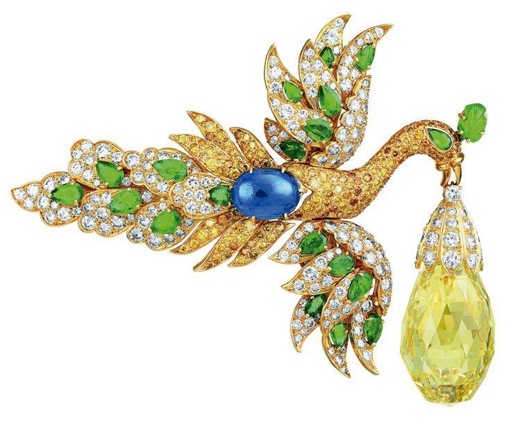 私人訂製的Walska胸針飛鳥珠寶,神氣飛揚的送子鳥將帶來珍貴禮物黃鑽,黃鑽可從...
