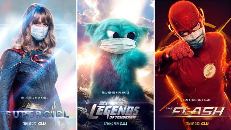 「女超人」(左起)、「明日傳奇」、「閃電俠」最新海報畫面上都戴了口罩。圖/摘自C...