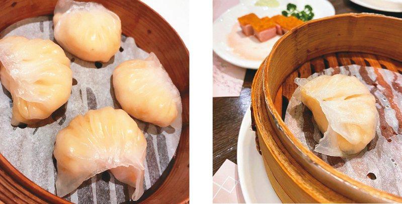 圖左/這是一家香港名店的作品。蝦餃皮光滑亮麗,摺痕清晰立體,蝦餃餡味道鮮美。圖右/這是在台中嘗過的無味蝦餃,相信是冷凍食材為主打的作品。圖/張聰提供