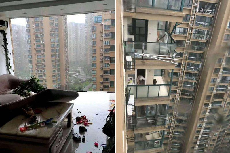 哈格比颱風肆虐,浙江一社區大樓陽台玻璃被吹飛。 圖/翻攝自微博
