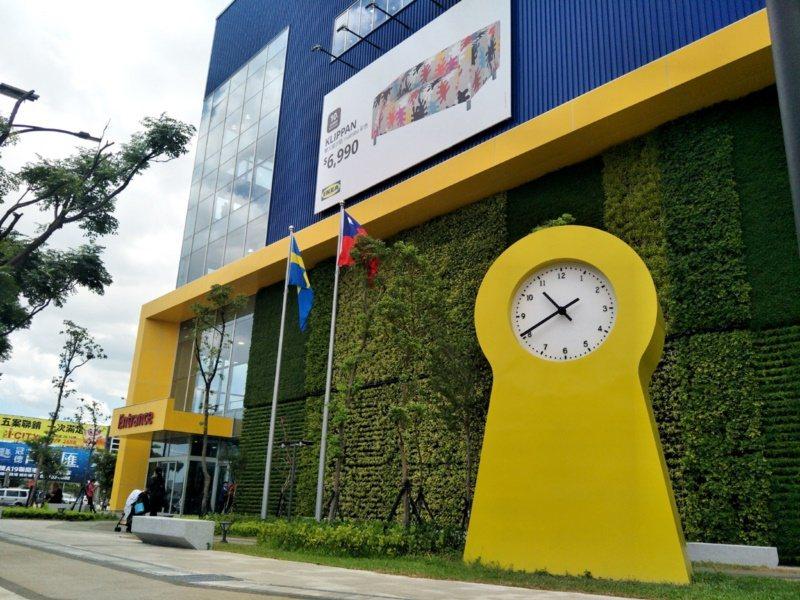 桃園市青埔IKEA桃園店入口處黃色巨型經典IKEA PS 1995鐘,成人氣打卡...