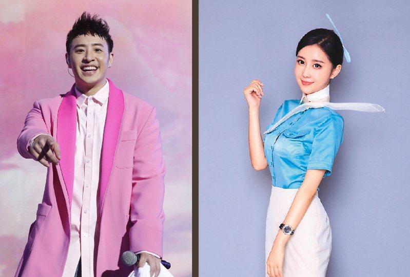 圖左為潘瑋柏,右為潘瑋柏老婆Luna(宣云),有最美空姐封號。圖/華納提供、摘自微博