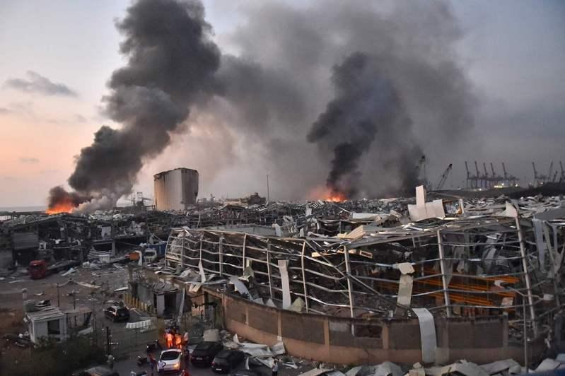 黎巴嫩首都貝魯特4日發生大爆炸,爆炸威力猛烈。法新社