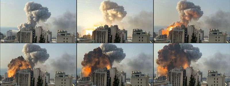黎巴嫩首都貝魯特4日發生大爆炸,天空中竄出蕈菇狀濃煙。法新社
