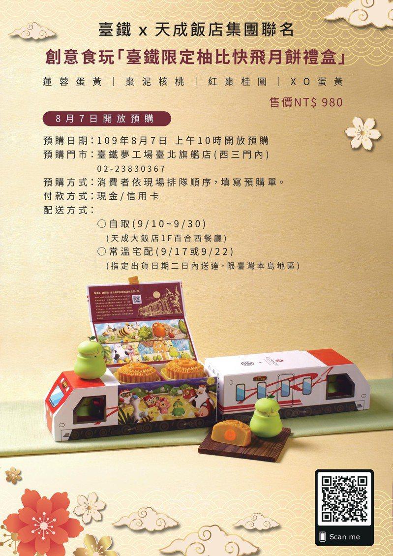 台鐵局首次與天成飯店集團跨界結盟,推出「台鐵限定柚比快飛月餅禮盒」,禮盒外觀以普悠瑪列車造型為設計主軸。 圖/台鐵局提供