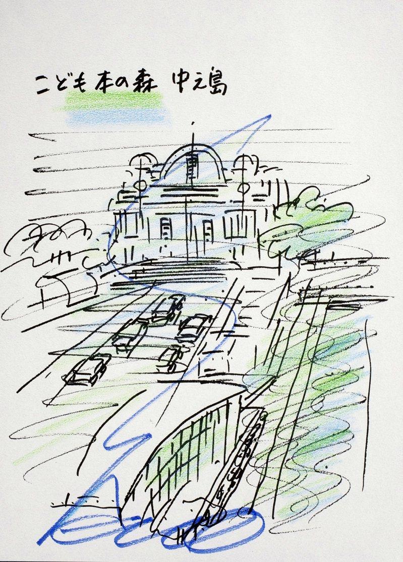 安藤忠雄建築手稿(一套七張),估價10,000港元起,此為大阪文化區的「童書之森中之島」,23.6x 17.2公分。圖/邦瀚斯提供