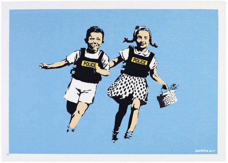 BANKSY「Jack and Jill (Police Kids)」 彩色絲網...