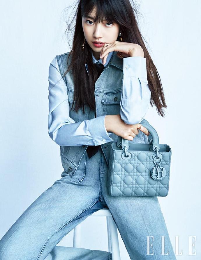 秀智手拎Lady Dior登上韓國版《ELLE》。圖/取自微博