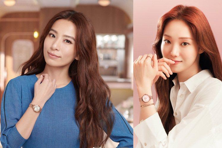 女神田馥甄(左)和李聖經(右)不約而同的演繹了新款粉紅金腕表,你喜歡誰的造型呢?...