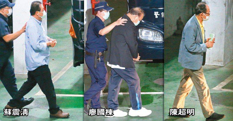 集體收賄案延燒,立委蘇震清(左圖起)、廖國棟、陳超明昨遭羈押禁見,這是國內司法史上頭一遭。記者季相儒、黃義書、侯永全/攝影