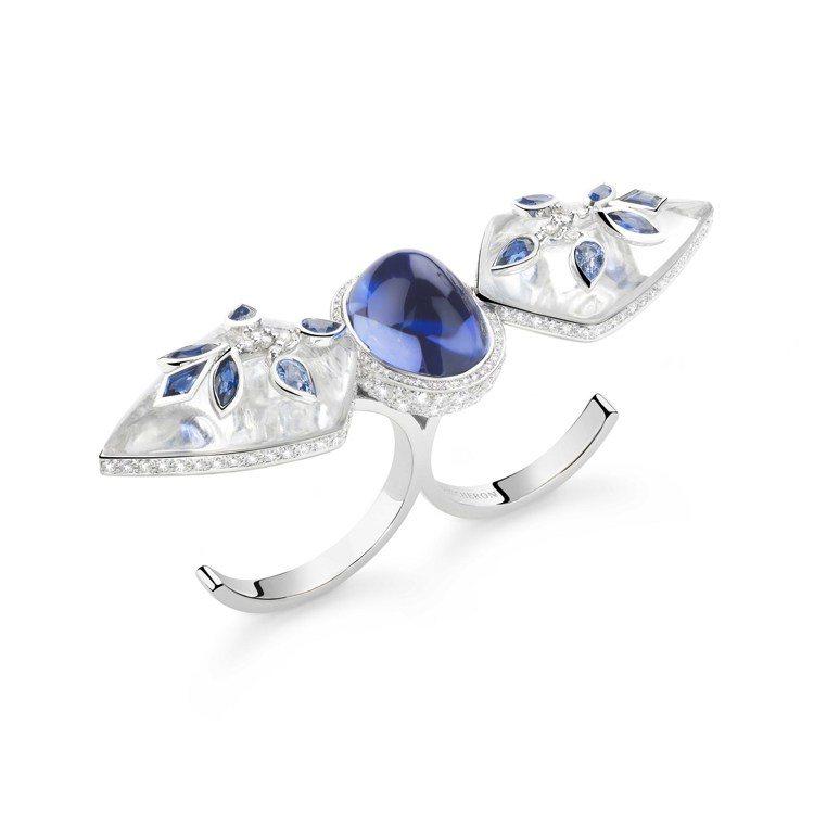 Boucheron,Jodhpur戒指,白金750材質,鑲嵌丹泉石、藍寶石、鑽石...