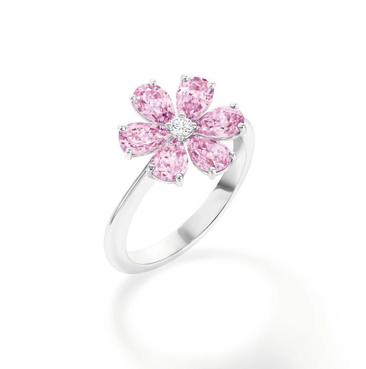 海瑞溫斯頓,Forget-Me-Not系列,粉紅剛玉鑽石戒指,鑲嵌6顆總重約2....