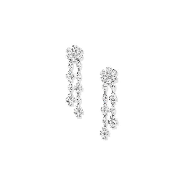 海瑞溫斯頓,Forget-Me-Not系列鑽石耳環,鉑金底座,鑲嵌馬眼型切工鑽石...