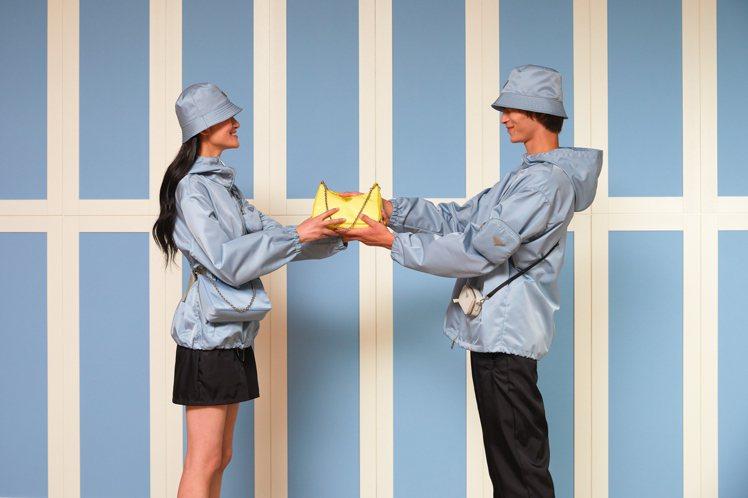 PRADA推出七夕情人節臻選系列商品,聚焦在帶點夢幻質感的粉嫩色尼龍、皮革單品,...