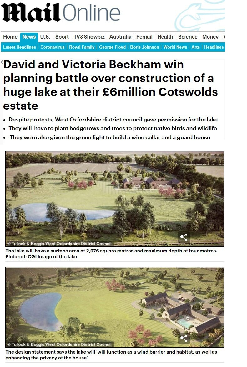 貝克漢一家打算開挖的人工湖,設計圖中看來會是這樣。圖/摘自Daily Mail