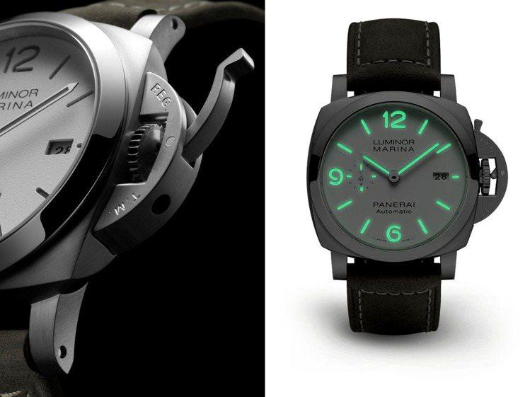 使用灰色夜光塗料的PAM 01314腕表,在夜光中會發出綠色、提高辨識。圖 / ...