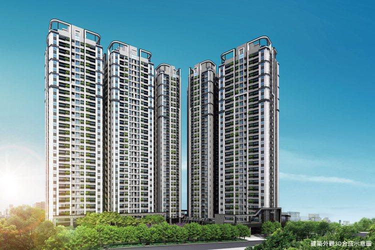 禾悅花園5棟29層摩天高樓,採L型巧妙鋪排,戶戶客廳皆明廳。 業者/提供