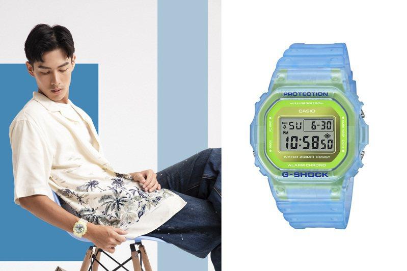 流行感十足的半透明螢光材質再度成為主流,清透質感腕表是配搭夏季造型首選。圖/CASIO提供
