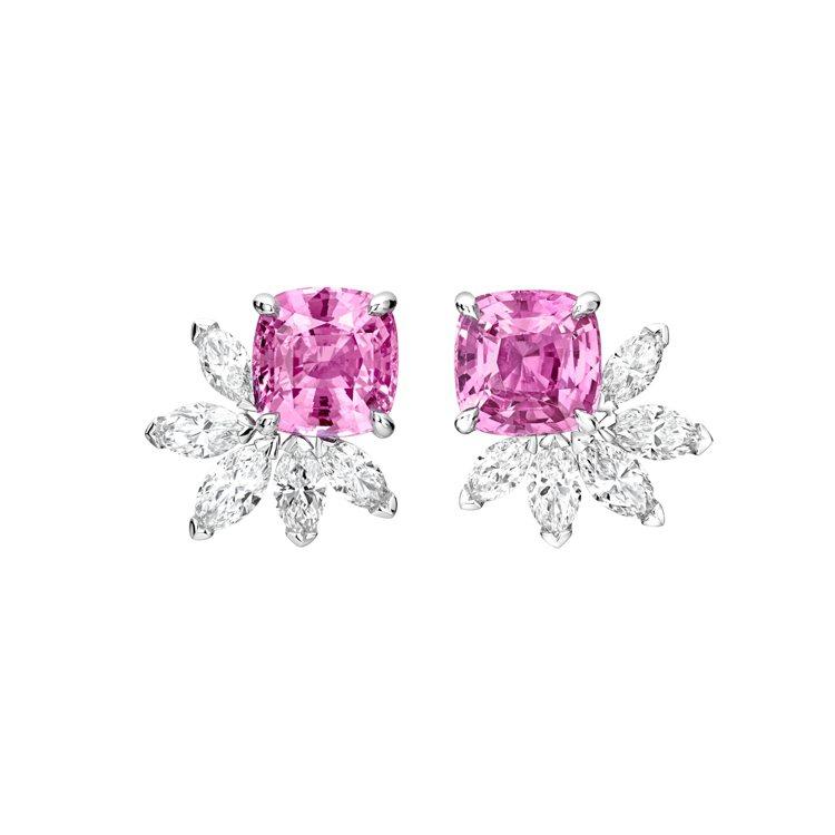 PIAGET,Treasures系列18K白金粉紅藍寶石高級珠寶鑽石耳環(G38...