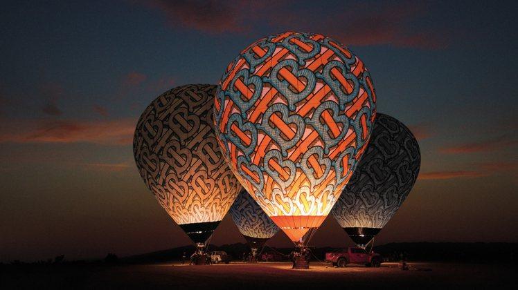 BURBERRY釋出夏季TB花押字的美景視覺,包括內蒙古烏海拍攝的熱氣球。圖/B...