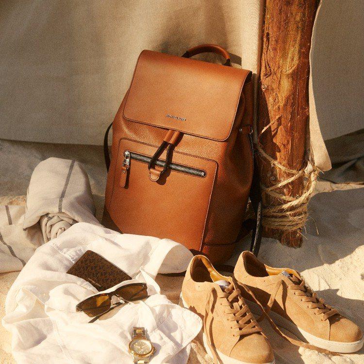 MICHAEL KORS皮革後背包,17,000元。圖/MICHAEL KORS...