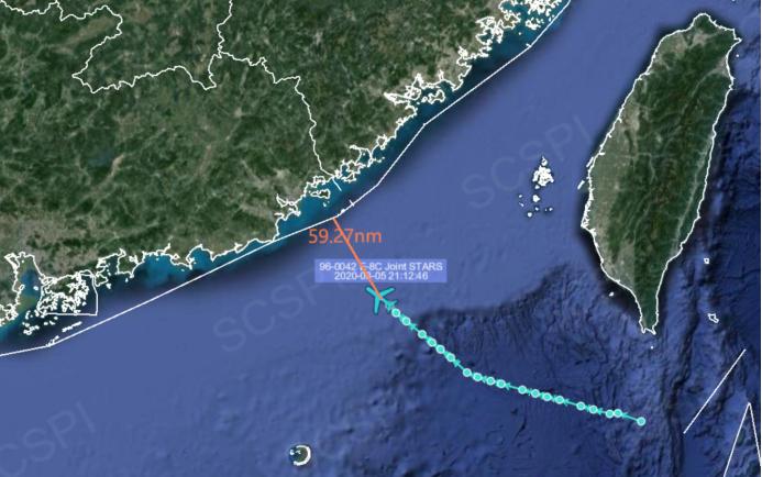 南海戰略態勢感知計畫平台公布8月5日夜間美軍E-8C聯合監視指揮機飛行路線。 圖/截自「南海戰略態勢感知計畫」平台推特