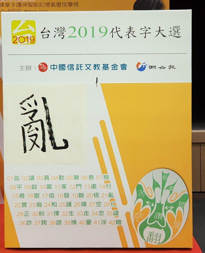從2008年起,聯合報系每年都會推出「台灣年度代表字大選」活動,2019年選出「亂」字。報系資料照
