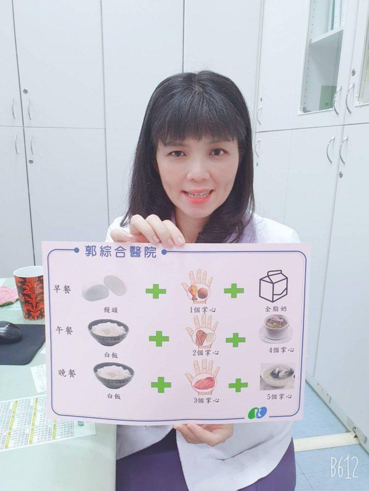 台南市郭綜合醫院營養師郭家伶提醒長者預防肌少症,蛋白質與澱粉的攝取很重要。 圖/...