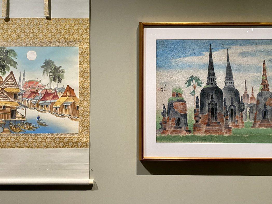 郭雪湖作品〈大城遺跡(泰國)〉現由郭雪湖家族收藏,為郭雪湖1955年因公出國...
