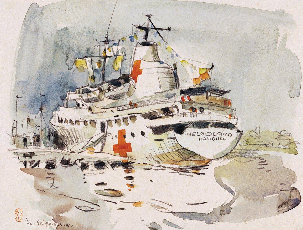 劉其偉,臺灣,〈停泊在湄公河上的醫務船(越戰)〉,1967,水彩、紙,24 ...