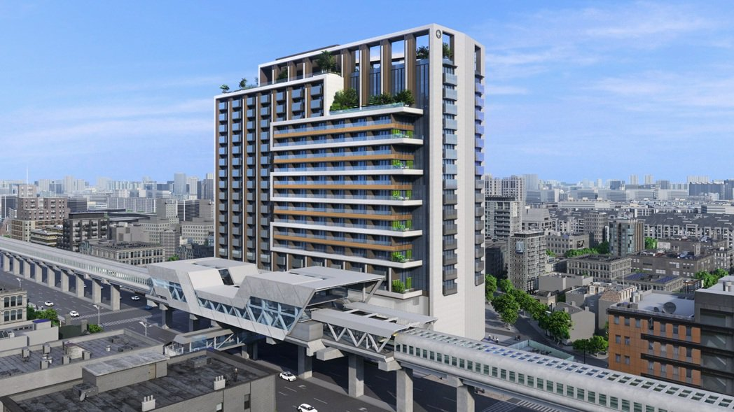 環狀線秀朗橋站土開案未來商辦大樓完工後模擬空拍示意圖。新北市府提供