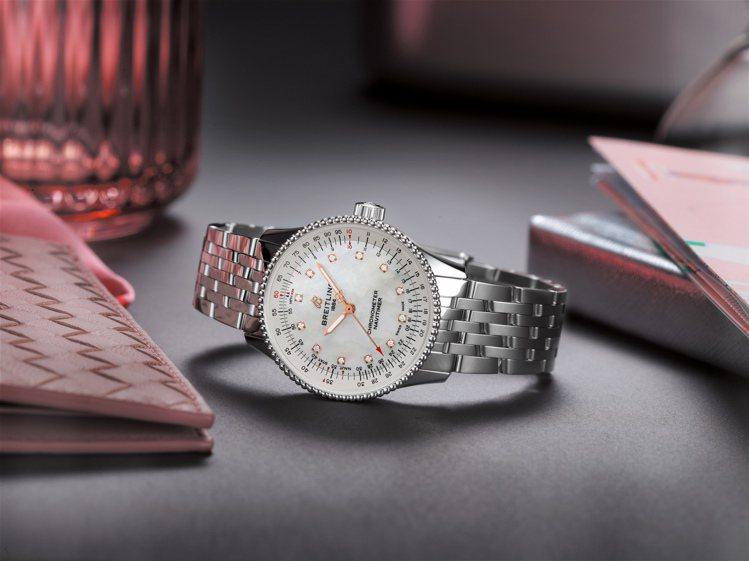 百年靈新款的Navitimer Automatic 35腕表,以小尺寸、母被表面...