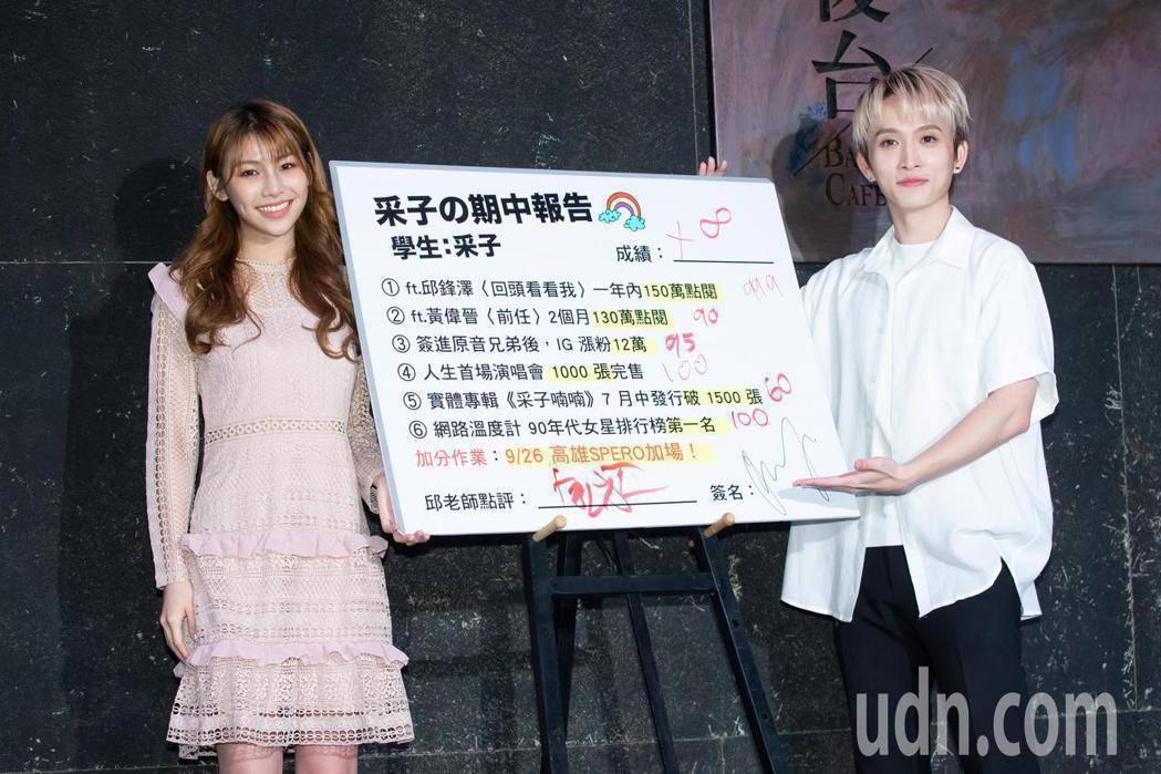 采子(左)的老闆邱鋒澤(右)也出席站台並為采子打成績單。記者季相儒/攝影