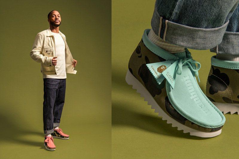 曼聯足球隊球星Raheem Sterling詮釋CLARKS ORIGINALS與Bape聯名袋鼠鞋。圖/i.t提供