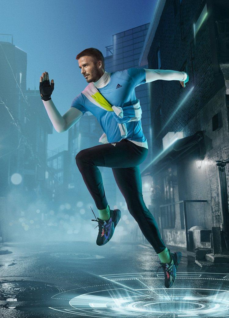 品牌代言人貝克漢詮釋adidas X9000 L4跑鞋。圖/adidas提供