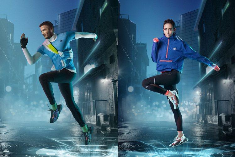品牌代言人貝克漢(左)、張鈞甯(右)詮釋adidas X9000 L4跑鞋。圖/...