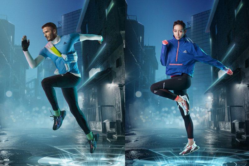 品牌代言人貝克漢(左)、張鈞甯(右)詮釋adidas X9000 L4跑鞋。圖/adidas提供