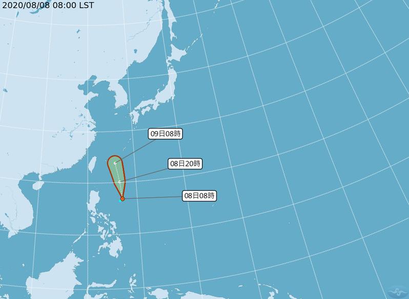 目前太平洋地區有1 個熱帶性低氣壓(T.D.)。圖/取自氣象局網站