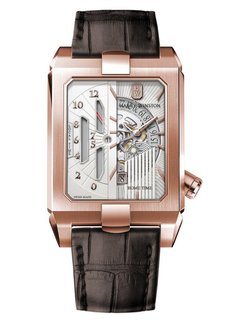 Harry Winston,第五大道Avenue系列雙時區自動腕表,讓情人的心意...