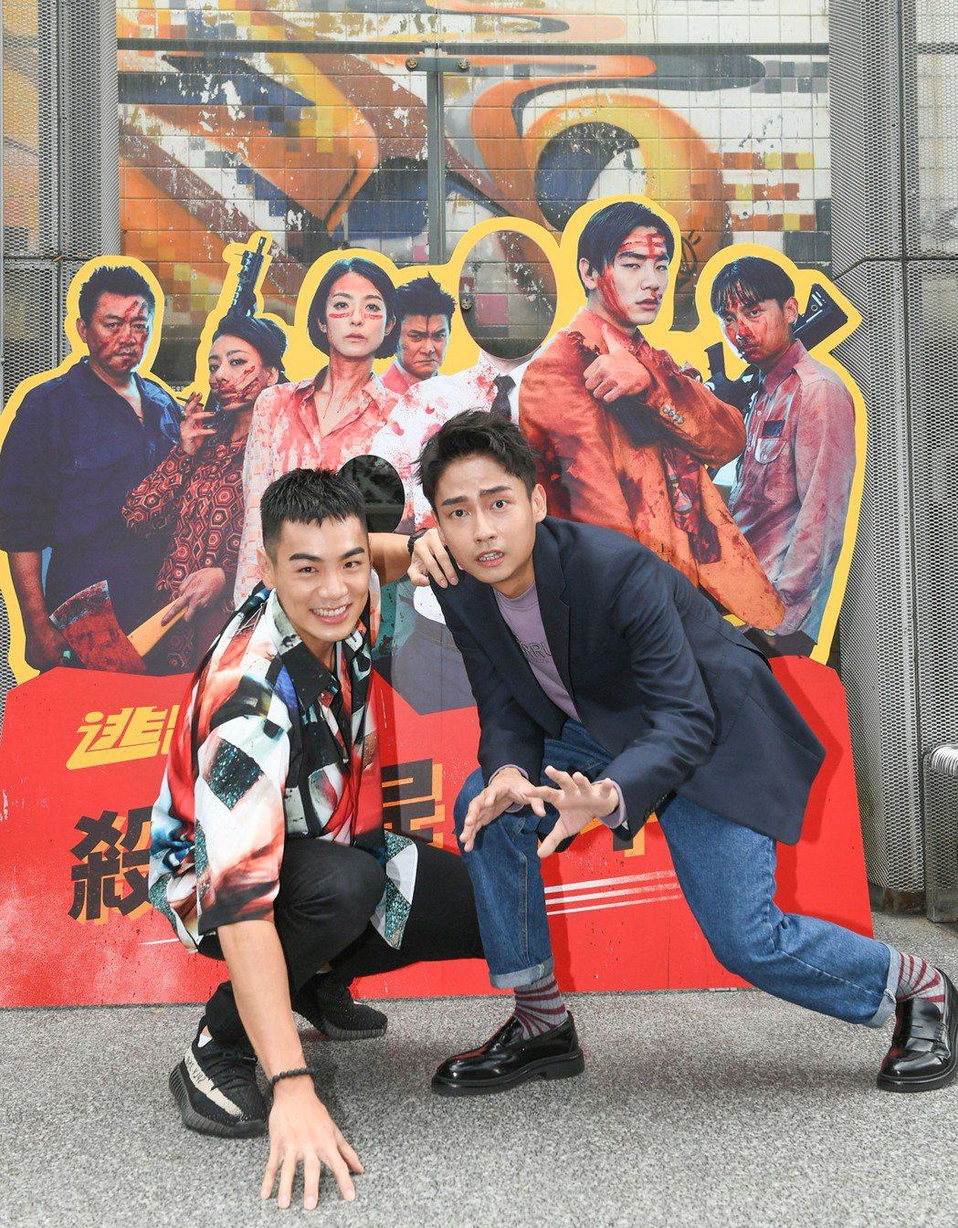 禾浩辰(左)、「大鶴」林鶴軒(右)於父親節當天出席「逃出立法院」彈幕特映場。圖/...