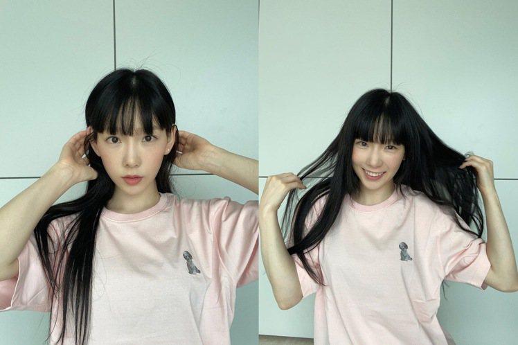 太妍剪了齊眉瀏海,看起來更顯臉小。圖/摘自IG