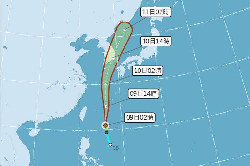 輕度颱風薔蜜距離鵝鑾鼻東方約570公里,預測向北往琉球方向移動,直接影響台灣的機率低。圖/取自氣象局網站