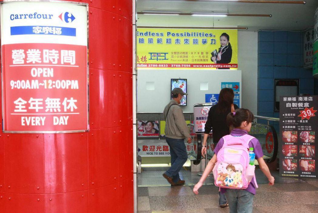 家樂福南港店外觀。 記者徐世經/攝影